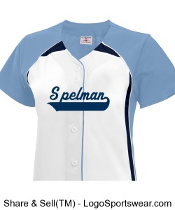 Full Button Spelman Softball Jersey with back and sleeve Design Zoom